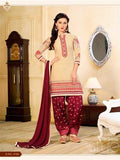 NS11321 Beige and Maroon Party Wear Cotton Patiyala Suit