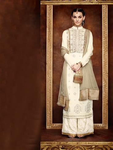 NS11173 Cream and DullGold Georgette Party Wear Straight Suit