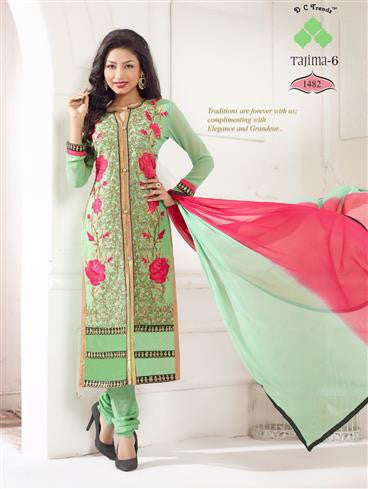 NS11789  Light Green and Rose Red Georgette Straight Suit