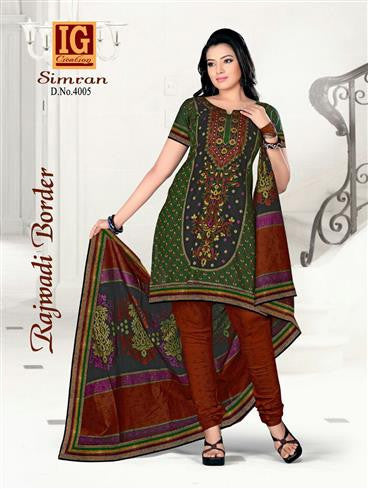 NS11700 ForestGreen and ChocolateBrown Printed Popplin Cotton Daily Wear Chudidar Suit