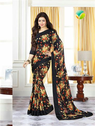 Vinay Fashion Star Walk 16991  Black Party Wear Georgette Saree