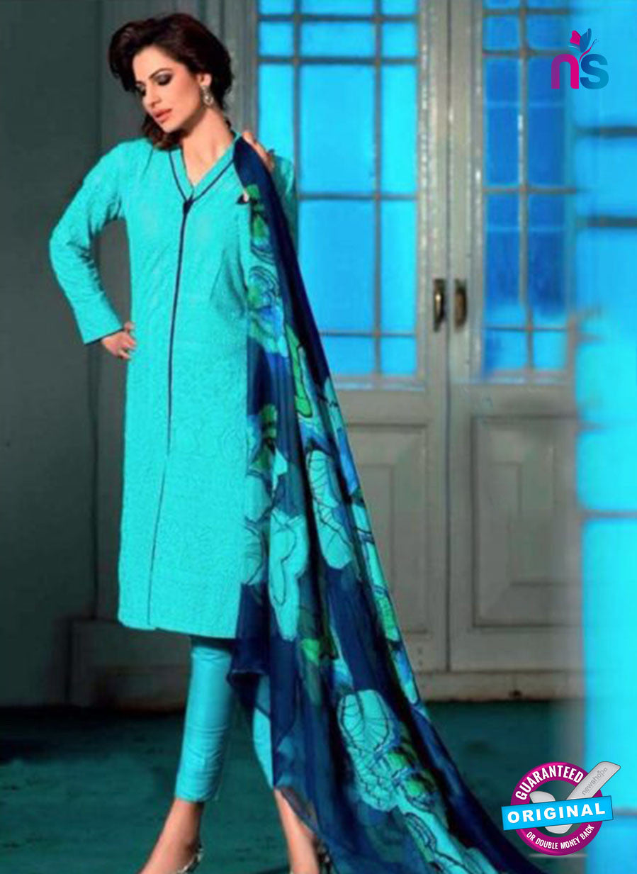 SC 13085 SkyBlue and Dark Blue Pure Cambric Cotton Embroidery Straight Suit