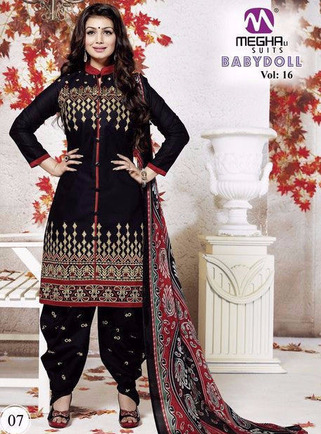 NS10160 Black Color Cotton Patiala Designer Suit