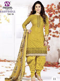 NS10167 Yellow Color Cotton Patiala Designer Suit