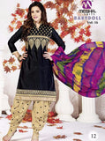 NS10170  Black & Beige Color Cotton Patiala Designer Suit