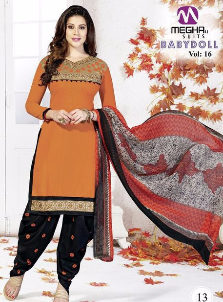 NS10171 Orange & Black Color Cotton Patiala Designer Suit