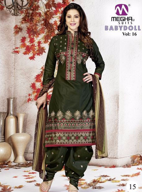 NS10173  Green Color Cotton Patiala Designer Suit