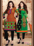 NS11722  Orange and Green Cotton Straight Suit