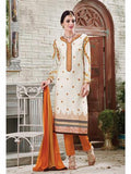 NS11885  Ivory and SandBrown Cotton Satin Straight Suit