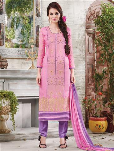 NS11886  Pink and Violet Blue Cotton Satin Straight Suit