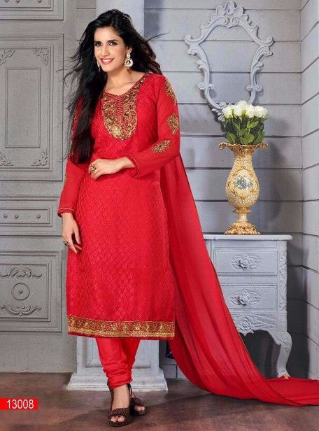 Brasso Suit 13008  Red Color Georgette Designer Suit