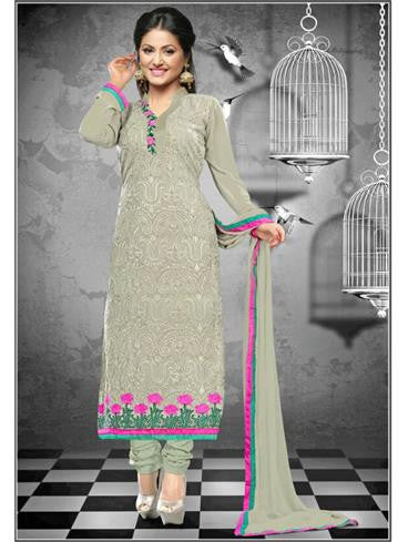 NS11648 Grey Georgette Straight Suit
