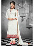 NS11646 White Georgette Straight Suit