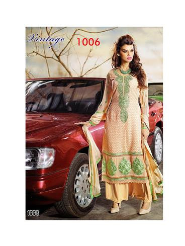 NS11861  Navajo White and Light Green Georgette Straight Suit