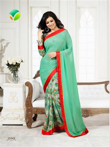 Vinay Fashion Star Walk 15543  Sea Green Georgette Party Wear Saree