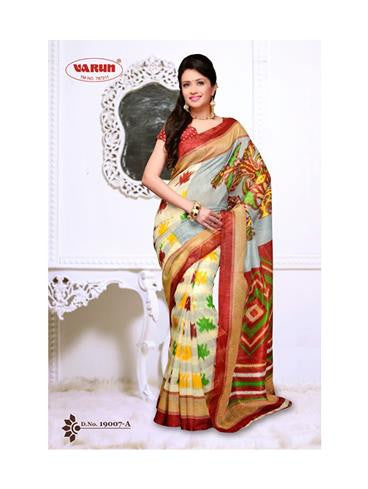 NS11835 A Brown and Multicolor Cotton Based Saree