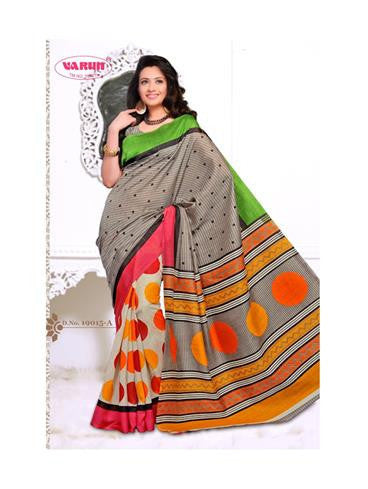 NS11844 A Grey and Multicolor Cotton Based Saree