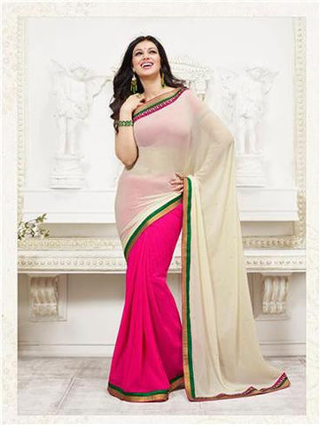 Vinay Fashion Star Walk 15638  Beige and Magenta Georgette Party Wear Saree