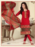 NS11437  Red and Beige Cotton Jaqcuard Party Wear Straight Suit