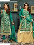 NS11573 B Sea Green Designer Georgette Straight Suit
