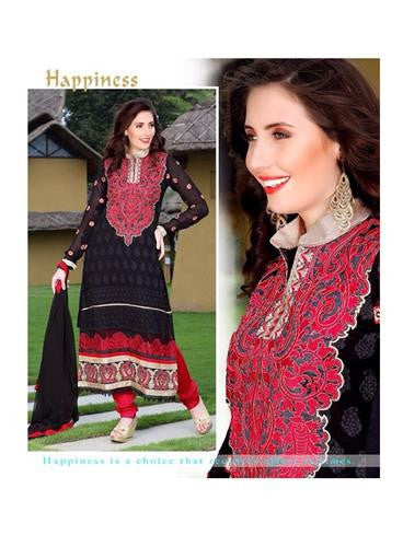 NS11867  Crimson Red and Black Georgette Straight Suit
