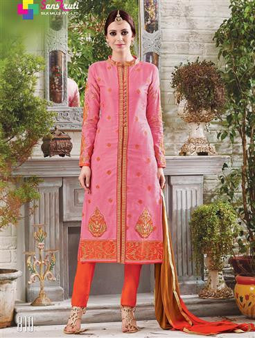 NS11882  Hot Pink and Fanta Orange Cotton Satin Straight Suit