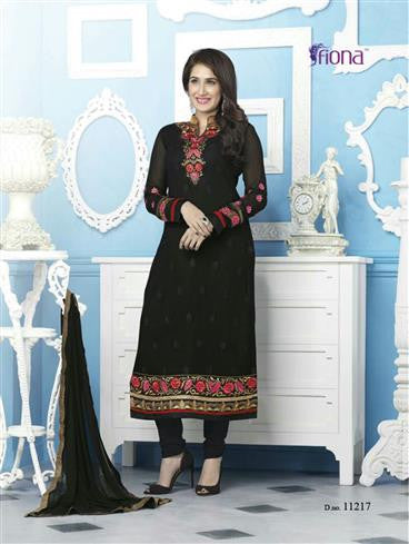 Sagarika 11217 Black Party Wear Foux Georgette Straight Suit