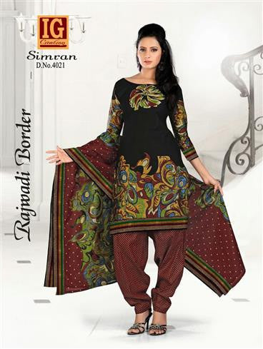NS11714 Black and Maroon Printed Popplin Cotton Daily Wear Chudidar Suit