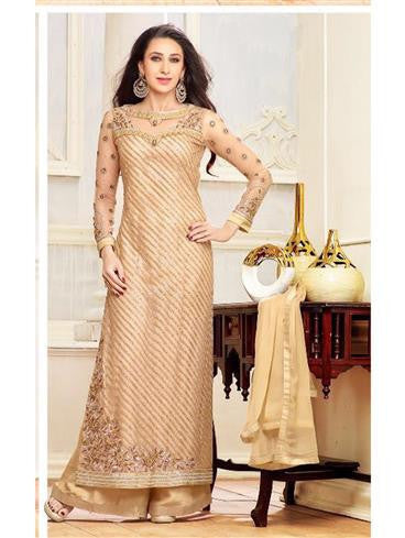 NS11080 Beige Gliter Net Party Wear Designer Plazzo Suit