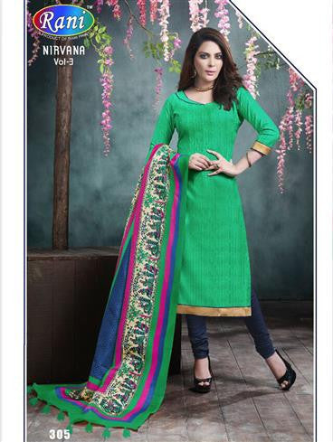 NS11244 Green and DarkBlue Printed Bhagalpuri Daily Wear Straight Suit