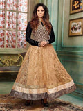 NS11899  Black and Sandy Brown Silky Net and Georgette Designer Gawn