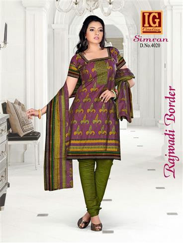 NS11713 Purple and DarkOliveGreen Printed Popplin Cotton Daily Wear Chudidar Suit