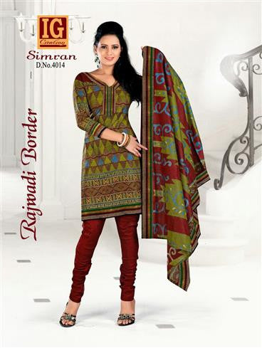 NS11709 OliveGreen and Maroon Printed Popplin Cotton Daily Wear Chudidar Suit