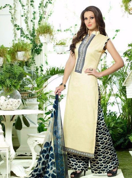 NS10294  Beige & Black Color Glazed Cotton Long Designer Suit