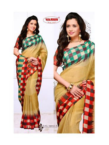 NS11839 A Red and Multicolor Cotton Based Saree