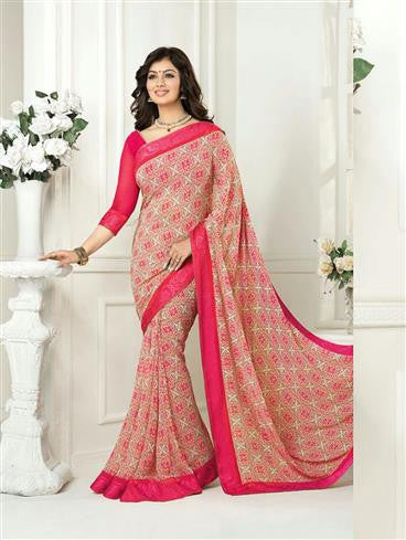 Vinay Fashion Star Walk  16988  Magenta Party Wear Georgette Saree