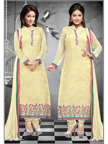 NS11647 Yellow Georgette Straight Suit
