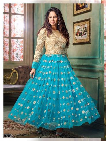 NS11898  Beige and Blue Silky Net and Georgette Designer Gawn