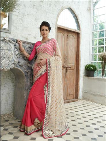 NS11735 Ivory and DeepPink Wedding Wear Crape, Georgette, Net Saree