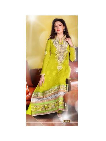 NS11865  Golden and Yellow Green Georgette Straight Suit