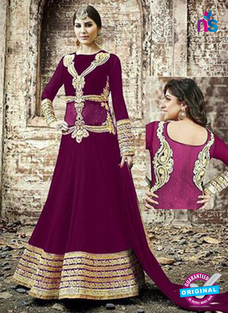 SC 13254 Purple and Golden Embroidered Georgette Fancy Gawn