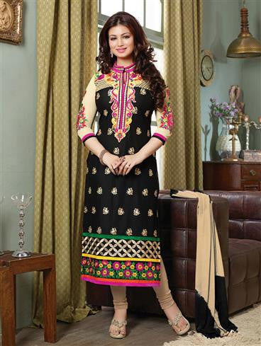 NS11516 Black and Beige Lanw Cotton Straight Suit
