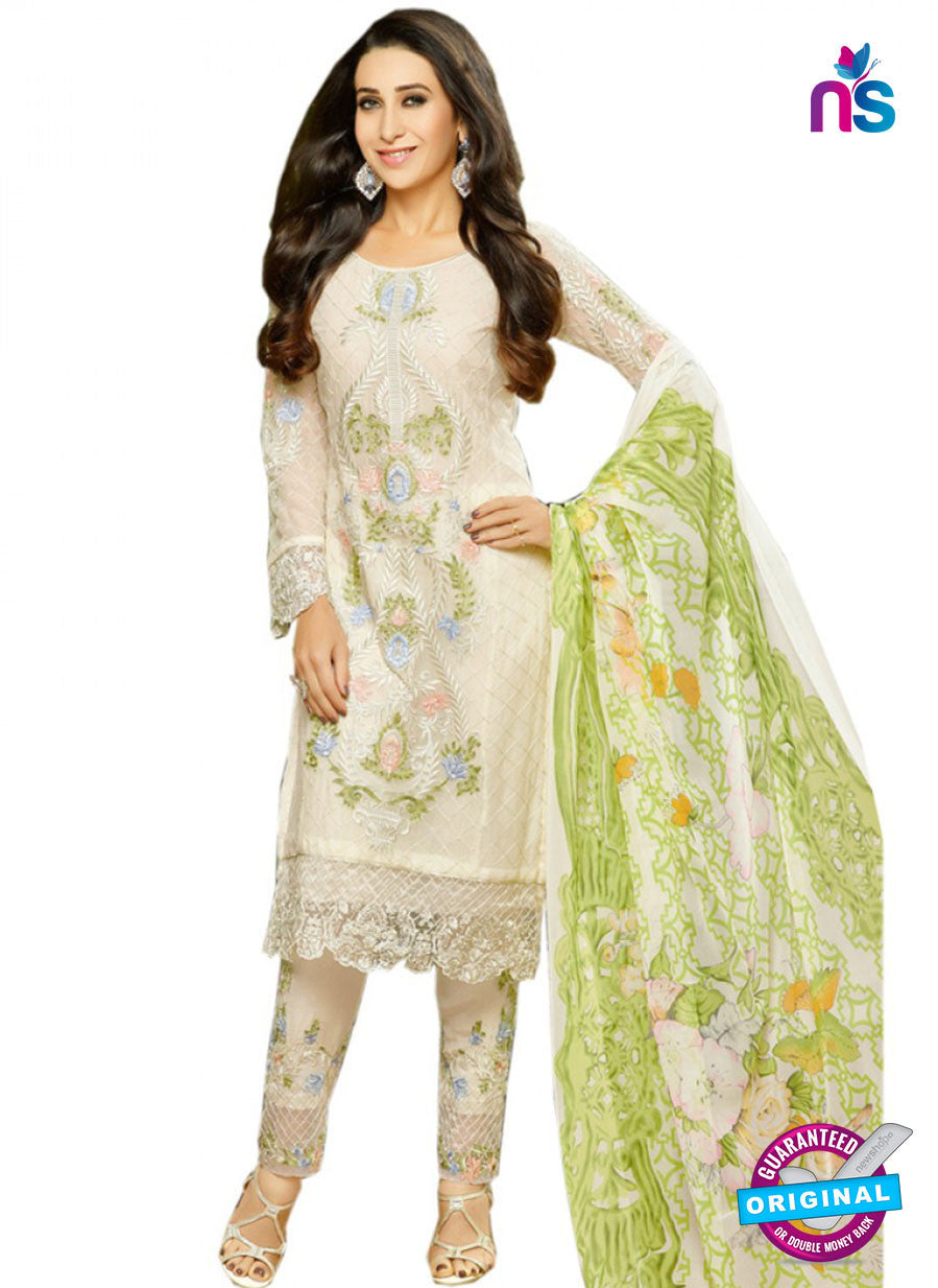 NS10458 Beige and Multicolor Party Wear faux Georgette Straight Suit