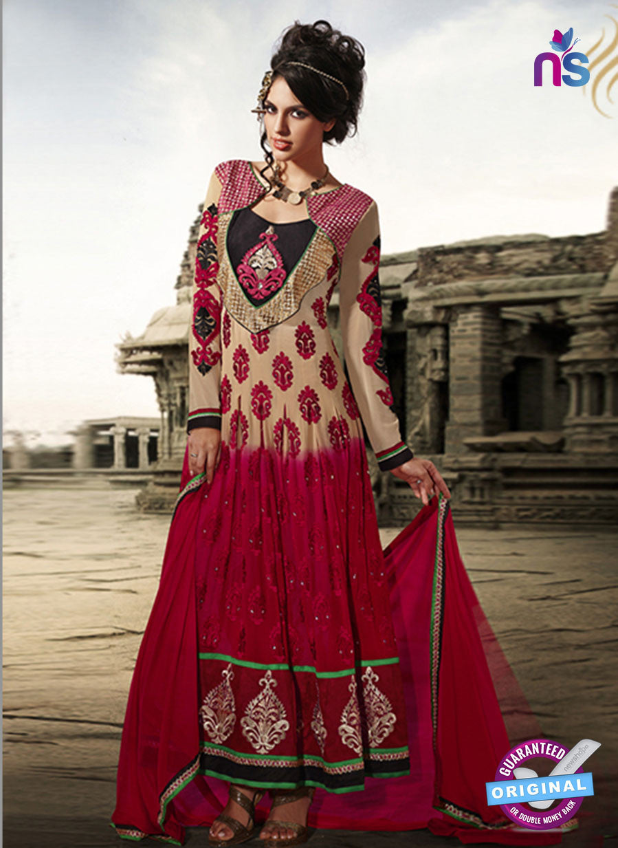 NS10471 Ivory and Red Anarkali Suit