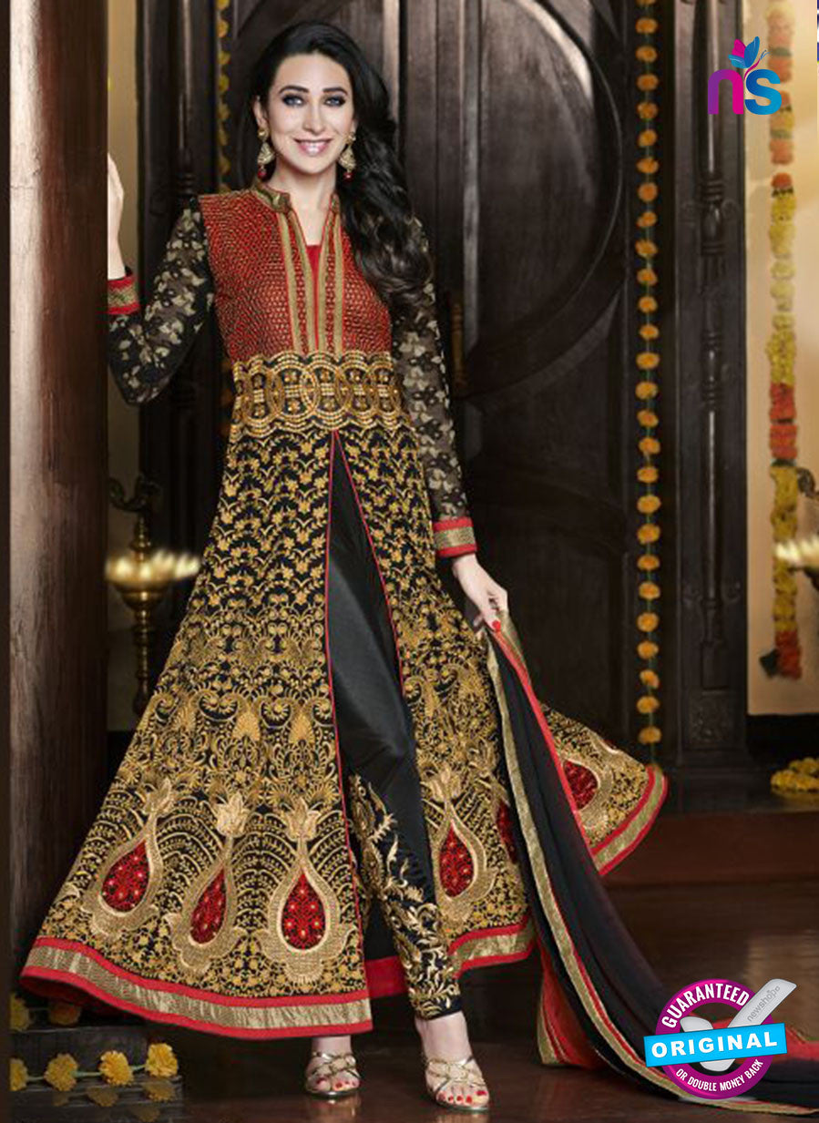 NS10472 A Red and Black Georgette Designer Suit