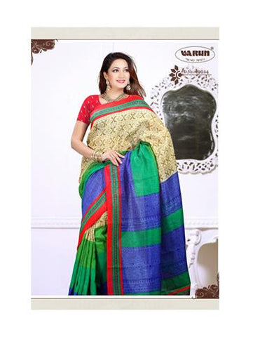 NS11843 Red and Multicolor Cotton Based Saree