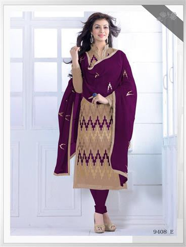 NS11550 E Beige nd Purple Party Wear Silk Chanderi Straight Suit