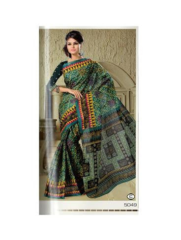NS11643 C Green Designer Printed Pure Cotton Saree