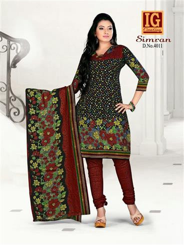 NS11706 Black and Maroon Printed Popplin Cotton Daily Wear Chudidar Suit