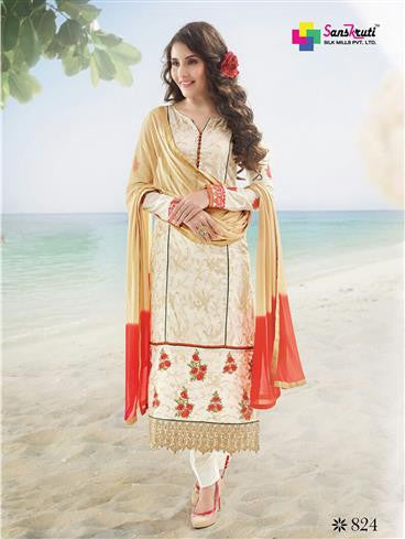 NS11889  Ivory and Red Satin Cotton Straight Suit